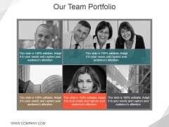 Our Team Portfolio Ppt PowerPoint Presentation Inspiration Infographics