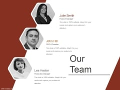 Our Team Ppt PowerPoint Presentation Icon Brochure