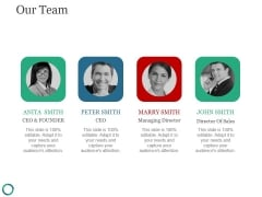 Our Team Template 4 Ppt PowerPoint Presentation Layouts Slide Portrait