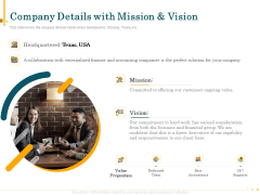 Outsource Bookkeeping Service Manage Financial Transactions Company Details With Mission And Vision Clipart PDF