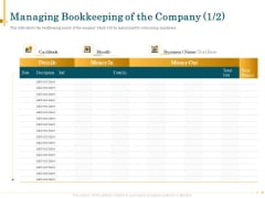 Outsource Bookkeeping Service Manage Financial Transactions Managing Bookkeeping Company Month Slides PDF