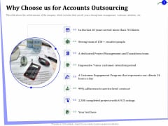 Outsourcing Of Finance And Accounting Processes Why Choose Us For Accounts Outsourcing Infographics PDF
