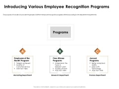 Outstanding Employee Introducing Various Employee Recognition Programs Background PDF