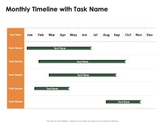 Outstanding Employee Monthly Timeline With Task Name Ppt Layouts Outline PDF