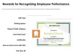 Outstanding Employee Rewards For Recognizing Employee Performance Brochure PDF
