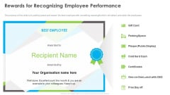 Outstanding Employee Rewards For Recognizing Employee Performance Graphics PDF