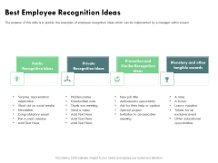 Outstanding Performer Workplace Best Employee Recognition Ideas Ppt Summary Templates PDF
