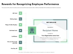 Outstanding Performer Workplace Rewards For Recognizing Employee Performance Elements PDF