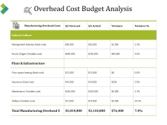 Overhead Cost Budget Analysis Ppt PowerPoint Presentation Pictures Example