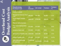 Overhead Cost Budget Analysis Ppt PowerPoint Presentation Professional
