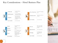 Overview Of Hospitality Industry Key Considerations Hotel Business Plan Topics PDF
