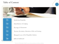 Overview Of Hospitality Industry Table Of Content Ppt Professional Template PDF