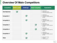 Overview Of Main Competitors Ppt PowerPoint Presentation Pictures Graphics Design
