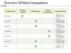 Overview Of Main Competitors Ppt PowerPoint Presentation Styles Portrait