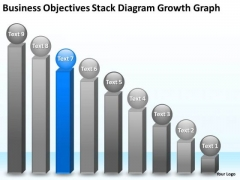 Objectives Stack Diagram Growth Graph 9 Stages Business Plan PowerPoint Slides
