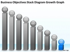 Objectives Stack Diagram Growth Graph 9 Stages Marketing Business Plan PowerPoint Templates