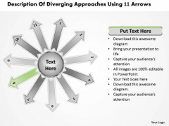 Of Diverging Approaches Using 11 Arrows Circular Flow Process Network PowerPoint Templates