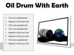 Oil Drum With Earth Industrial PowerPoint Presentation Slides F