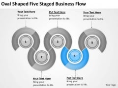Oval Shaped Five Staged Business Flow Ppt Plan PowerPoint Slides