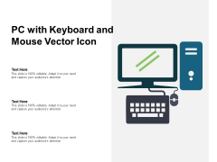 PC With Keyboard And Mouse Vector Icon Ppt Powerpoint Presentation Inspiration Deck