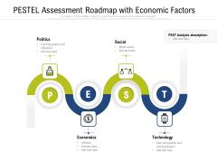 PESTEL Assessment Roadmap With Economic Factors Ppt PowerPoint Presentation Icon Diagrams PDF
