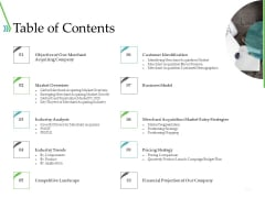 POS For Retail Transaction Table Of Contents Ppt Professional Background Images PDF