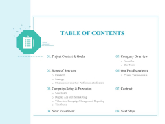 PPC Services And Adwords Management TABLE OF CONTENTS Topics PDF