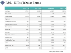 P And L Kpis Template 1 Ppt PowerPoint Presentation Portfolio Visual Aids