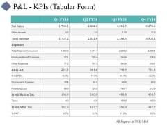 P And L Kpis Template 1 Ppt PowerPoint Presentation Portfolio Visual Aids