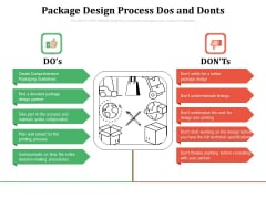 Package Design Process Dos And Donts Ppt PowerPoint Presentation Gallery Tips PDF