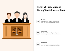 Panel Of Three Judges Giving Verdict Vector Icon Ppt PowerPoint Presentation File Layout PDF