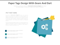 Paper Tags Design With Gears And Dart Powerpoint Slides