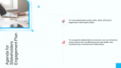 Partner Strategy Initiative Agenda For Stakeholders Engagement Plan Infographics PDF