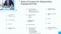 Partner Strategy Initiative Table Of Contents For Stakeholders Engagement Plan Icons PDF