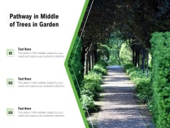 Pathway In Middle Of Trees In Garden Ppt PowerPoint Presentation File Formats PDF