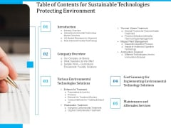 Pathways To Envirotech Sustainability Table Of Contents For Sustainable Technologies Protecting Environment Background PDF