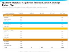 Payment Processor Quarterly Merchant Acquisition Product Launch Campaign Budget Plan Designs PDF