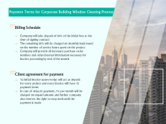 Payment Terms For Corporate Building Window Cleaning Process Ppt Model Mockup PDF