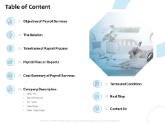 Payroll Outsourcing Service Table Of Content Ppt Slide Download PDF