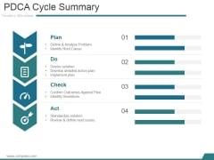 Pdca Cycle Summary Ppt PowerPoint Presentation Layouts