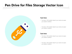 Pen Drive For Files Storage Vector Icon Ppt PowerPoint Presentation File Vector PDF