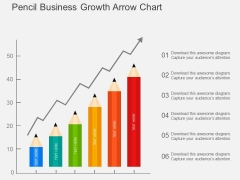 Pencil Business Growth Arrow Chart Powerpoint Template
