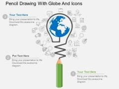 Pencil Drawing With Globe And Icons Powerpoint Template