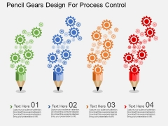 Pencil Gears Design For Process Control Powerpoint Templates