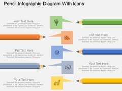 Pencil Infographic Diagram With Icons Powerpoint Template