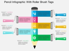 Pencil Infographic With Roller Brush Tags Powerpoint Templates