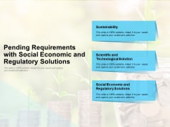 Pending Requirements With Social Economic And Regulatory Solutions Ppt PowerPoint Presentation Gallery Background Designs PDF