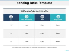Pending Tasks Responsible Ppt PowerPoint Presentation Outline Master Slide
