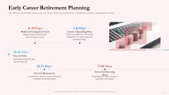 Pension Plan Early Career Retirement Planning Ppt Example File PDF