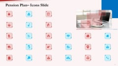 Pension Plan Icons Slide Ppt Slides Graphics Pictures PDF